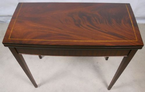 Georgian Style Inlaid Mahogany Foldover Card Table